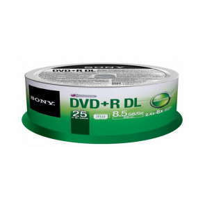25DPR85SP - Sony DVD+R 8.5GB Dual Layer 8x Speed Recordable Media Disc (25 Spindles)