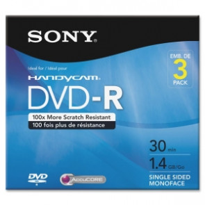 3DMR30R1H - Sony dvd Recordable Media dvd-R 1.40 GB 3 Pack 80mm Mini30 Minute Maximum Recording Time