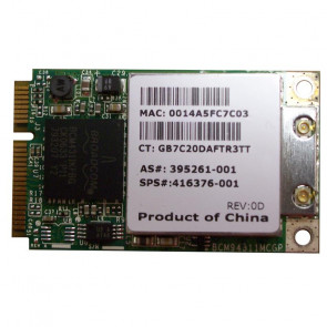 416376-001 - HP Mini PCI-Express 54G WiFi 802.11b/g High-Speed Embedded Wireless LAN (WLAN) Network Interface Card for Pavilion DV2000 Series