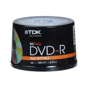 48518 - TDK 16X DVD-R Media DVD-R - 4.7GB - 120MM Standard - 50-Pack Spindle
