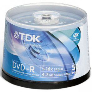 DVD-R47FCB100 - TDK 16x dvd-R Media - 4.7GB - 100 Pack