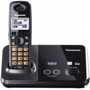KX-TG9321T - Panasonic KX-TG9321T Cordless Phone 1.90 GHz DECT 6.0 Metallic Black 2 x Phone Line Caller ID Speakerphone Backlight (Refurbished)