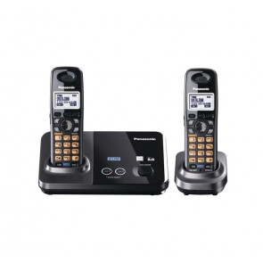 KX-TG9322T - Panasonic KX-TG9322T Cordless Phone 1.90 GHz DECT 6.0 Metallic Black 2 x Phone Line 1 x Handset Caller ID Speakerphone Backlight (Refurbished)