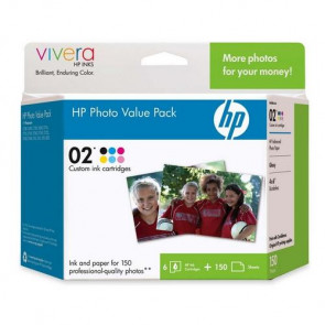Q7964AN - HP 02 Series Photo Value Pack Print Cartridges with 150-Sheets Advanced Photo Paper