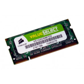 VS1GSDS667D2 - Corsair 1GB DDR2-667MHz PC2-5300 non-ECC Unbuffered CL5 200-Pin SoDimm 1.8V Memory Module