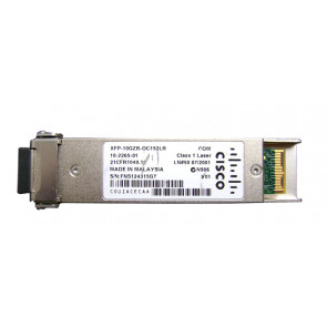 XFP-10GZR-OC192LR= - Cisco Multirate XFP Transceiver Module for 10-GBase-ZR Ethernet and OC-192/STM-64 long-reach Packet-over-SONET/SDH (POS) applications SMF du