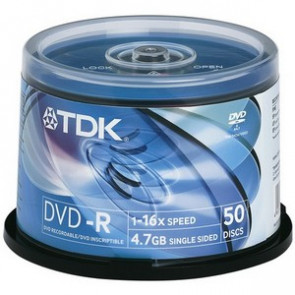 Z16X-RTWHCB50 - TDK 16x dvd-R Media - 4.7GB - 50 Pack